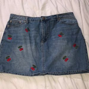 Plus Size Jean Skirt with Cherry Details
